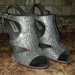 Steve Madden Crystal Peep Toe Strappy Heels - 7.5